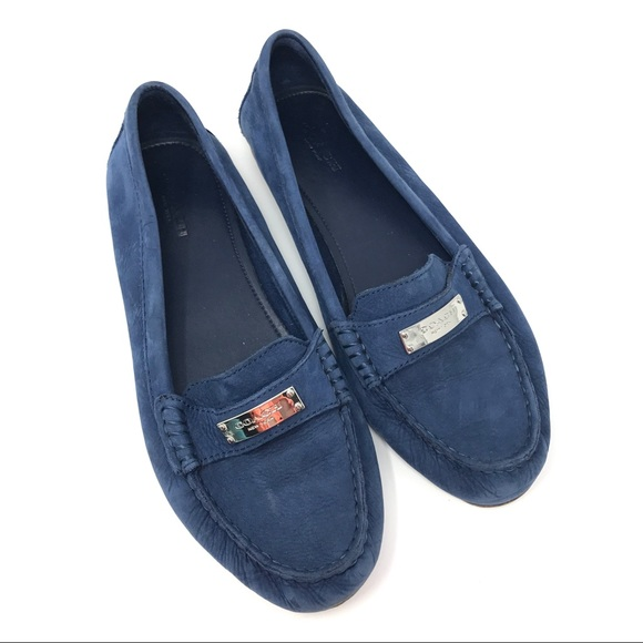 082b8d8b4ff Coach Shoes - Coach Fredrica Blue Pebble Leather Loafers 8.5